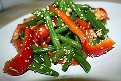 Eggplant, Green Bean and Red Pepper Salad
