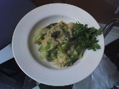 Walnut Risotto with Roasted Asparagus
