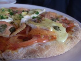 Smoked Salmon in Brie Pizza